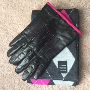 Ann Taylor Leather Gloves Express Merino Scarf